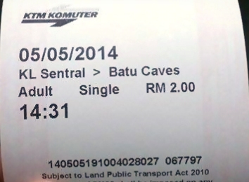 Tiket LRT KL Sentral - Batu Caves (One Way)